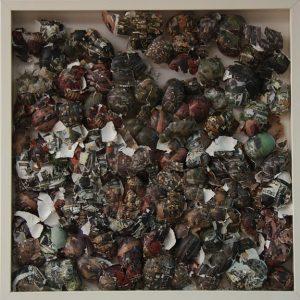 Résidus coquille d'oeuf , collage / 60x 60 cm Performance -Vidéo / Ben nhouda Zouber / 2006