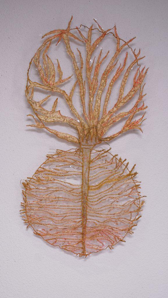 Broderie tissé main et machine / fil doré de coton , nylon et laiton / 75 x45 cm /2008